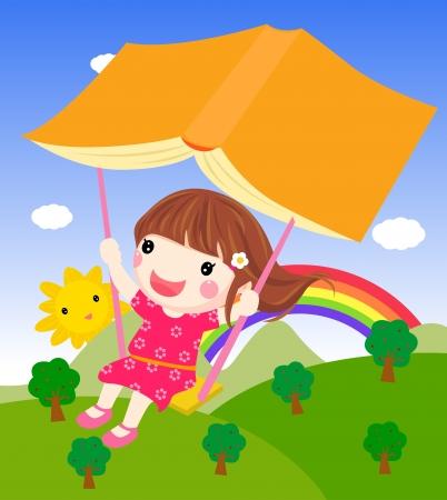 jardin de infantes: un balanceo de la muchacha y el libro