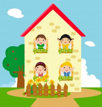 zeichnung: Vier Kinder und ein Haus