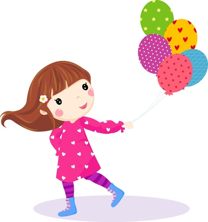 happy birthday girl: te little girl running with balloons