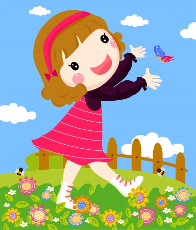 girl playing butterfly  Vector