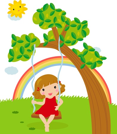 happy girl in swing  Vector