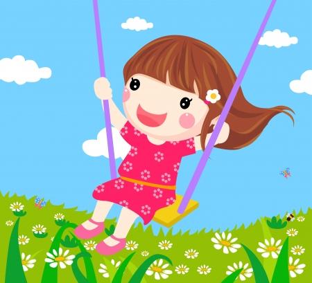 columpios: Chica en un columpio - Vector Vectores