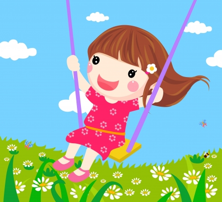 Girl on a Swing - Vector  Vector