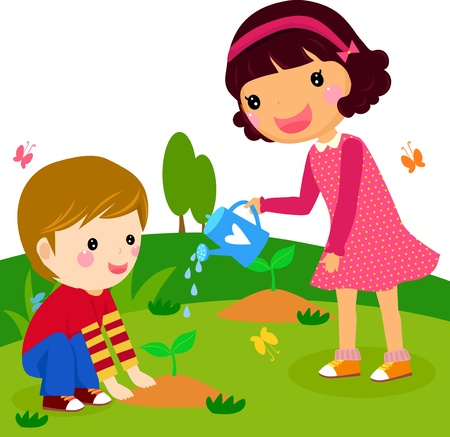 boy and girl watering a plant  Vector