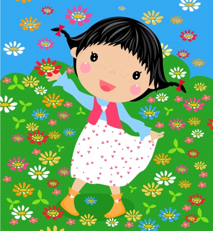 funny happy smiling redhead girl with flower  Stock Vector - 14862451
