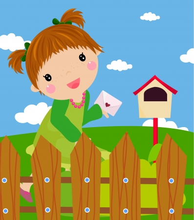The little girl in the letter  Vector