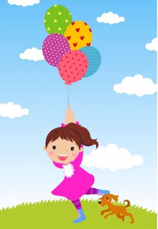 happy girl in a park Stock Vector - 14859884