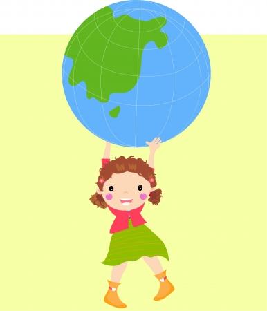 girl holding globe  Vector