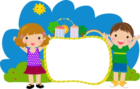 kids and frame-vector Vector