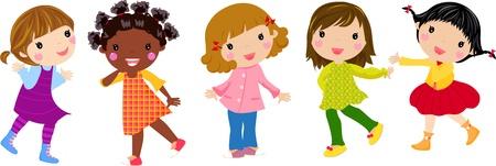 amigo: Cinco chicas Vectores