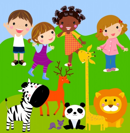 cartoon lion: kids in the zoo  Illustration
