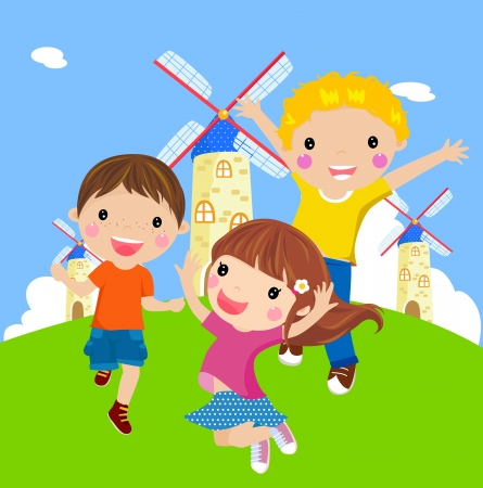multicultural group: Happy jumping girl and boys  Illustration