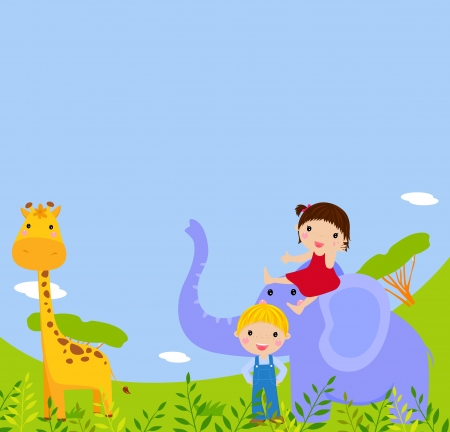 kids and animal  Vector