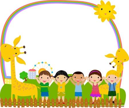 cute: Kinder und Rahmen Illustration