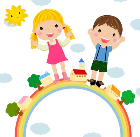 los niños y el arco iris