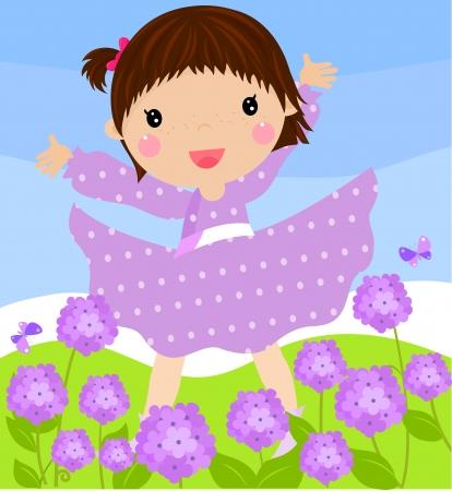 fairy garden: little girl and hydrangeas