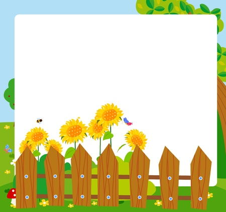 fence panel: cartoon sunflower frame