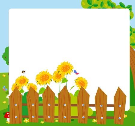 bee garden: cartoon sunflower frame
