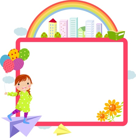 cute little girl and frame Stock Vector - 14861005
