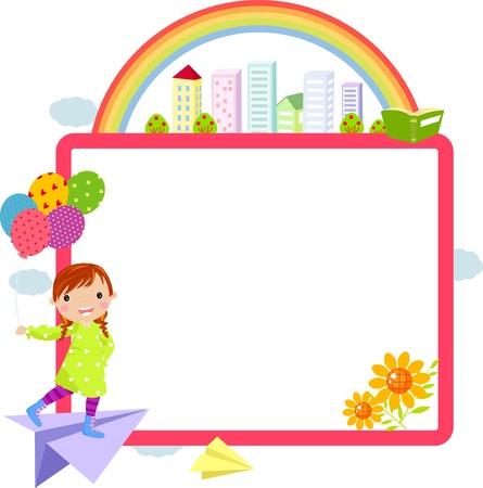 cartoon school girl: ni�a linda y marco