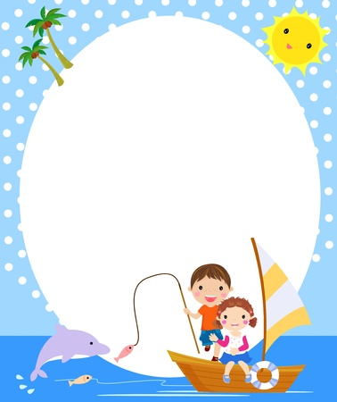 boy and girl fishing,summer  Vector