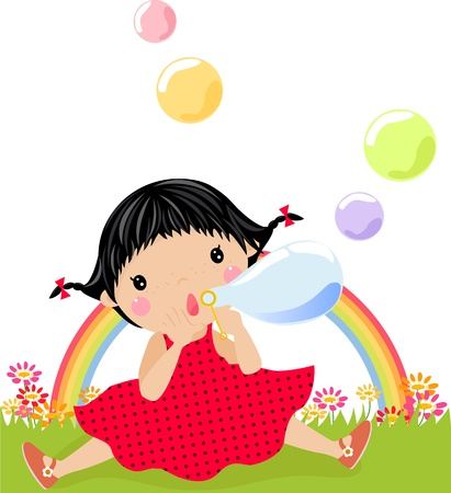 Little girl playing with bubbles Vector