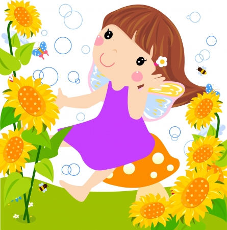 sunflower fairy  Vector