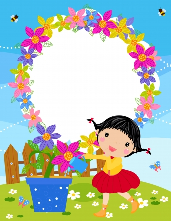 cartoon summer: Small girl is watering plant in the garden