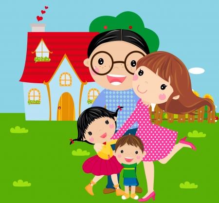 高級住宅のしきい値に幸せな家族