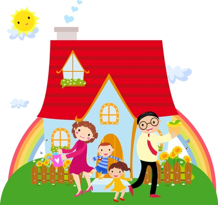 Family in front of their house  Vector