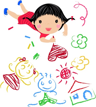 kids drawing: Kids Drawing - Vector