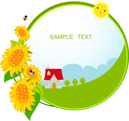 sunflower and house Stock Vector - 15301452