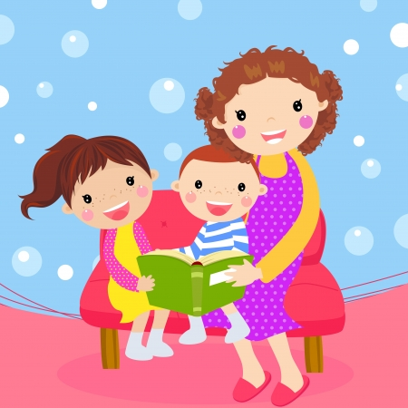 two story: Young mother reading book to her children