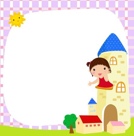 little girl and white frame  Stock Vector - 15301455