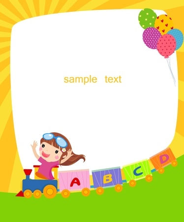 little girl by train and frame  Stock Vector - 14906263