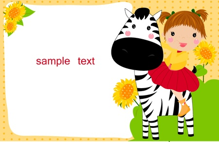 little child on a zebra  Vector