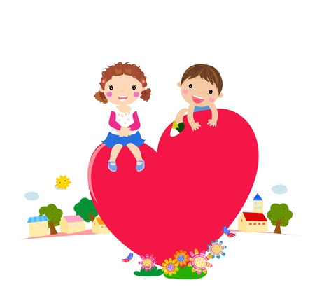 cuore in mano: cartone animato ragazzo e una ragazza in vettoriale amore