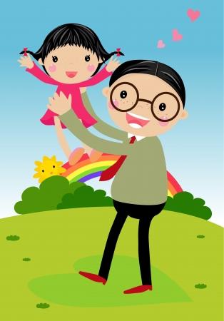 apa: Apa és lánya - Vector Illusztráció