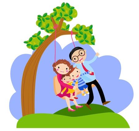 family clipart: altalena famiglia Vettoriali