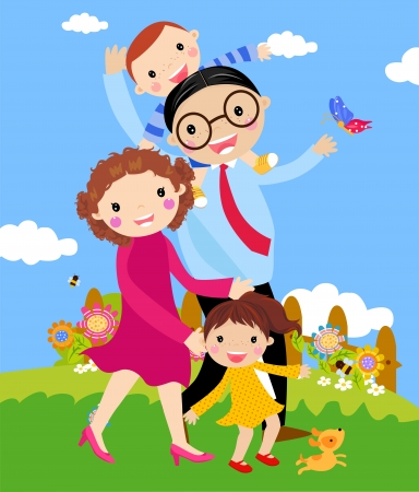 Vetor dos desenhos animados da família feliz que anda ao ar livre com cão