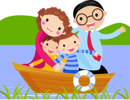 family in ship  cartoon vector illustration  Vector