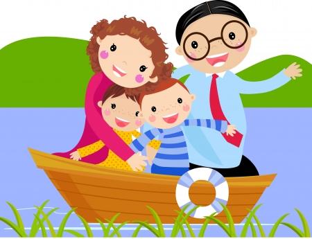 family holiday: family in ship  cartoon vector illustration