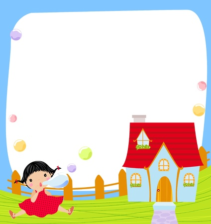 sundress: Little girl and soap bubbles, illustration  Illustration