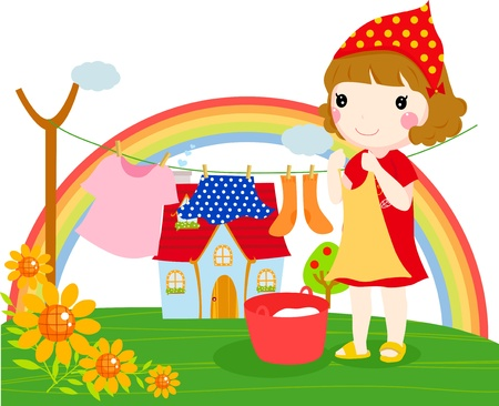 little girl and clothes Vector