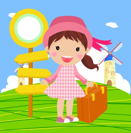 cute girl to travel  Vector