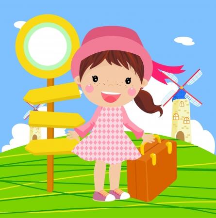 linda chica para viajar Vectores