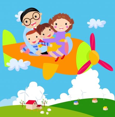 avion caricatura: Viajes en familia Vectores
