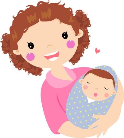 madre y bebe: Joven madre abrazando a su bebé Vectores