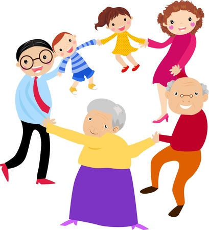 Happy family holding hands Stock Vector - 14906246