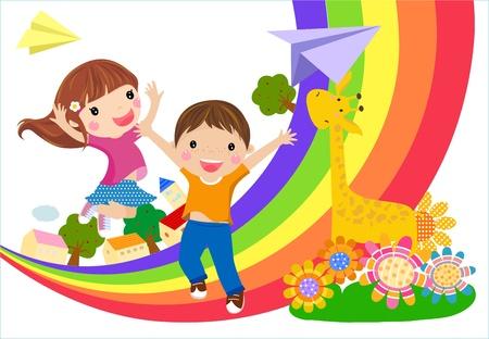 kinderen en regenboog Vector Illustratie